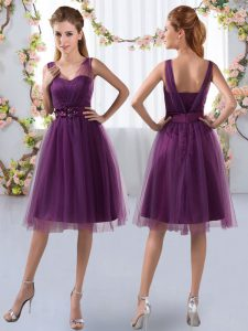 Empire Dama Dress Purple V-neck Tulle Sleeveless Knee Length Zipper