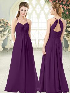 Pretty Purple Sleeveless Floor Length Ruching Zipper Prom Gown