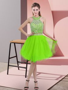 Halter Top Sleeveless Dress for Prom Knee Length Beading Organza