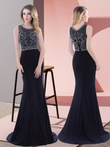 Navy Blue Mermaid Scoop Sleeveless Chiffon Sweep Train Zipper Beading and Lace Prom Gown