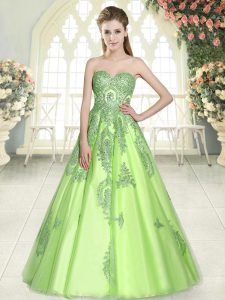Captivating Sleeveless Lace Up Floor Length Appliques