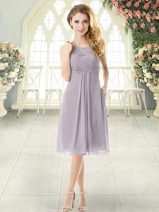 Elegant Grey Chiffon Zipper Halter Top Sleeveless Knee Length Prom Party Dress Ruching