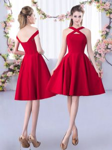 Red Satin Zipper Court Dresses for Sweet 16 Sleeveless Knee Length Ruching