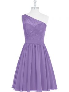 Glorious Lavender Side Zipper One Shoulder Sleeveless Knee Length Prom Gown Lace