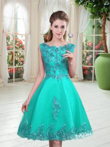Turquoise Lace Up Beading and Appliques Sleeveless Knee Length