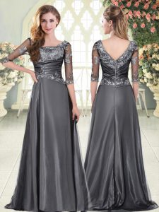 Gorgeous Grey Scalloped Zipper Beading and Lace and Appliques Evening Gowns Half Sleeves