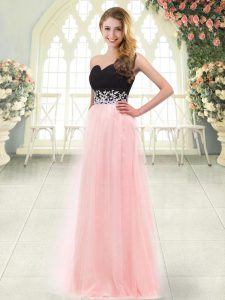Low Price Baby Pink Tulle Zipper Sweetheart Sleeveless Floor Length Prom Dress Appliques