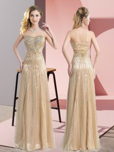High Quality Sweetheart Sleeveless Zipper Evening Dress Champagne Tulle