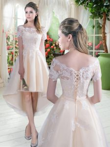 Beauteous Off The Shoulder Short Sleeves Lace Up Prom Dresses Champagne Tulle