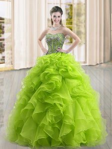 Stylish Sweetheart Sleeveless Organza 15th Birthday Dress Beading and Ruffles Lace Up