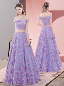 Artistic Lavender A-line Beading Prom Dress Zipper Lace Sleeveless Floor Length