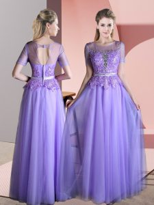 Lavender Backless Evening Dress Beading and Lace Short Sleeves Floor Length