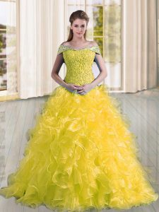 Custom Design Off The Shoulder Sleeveless Sweep Train Lace Up Quinceanera Gown Yellow Organza