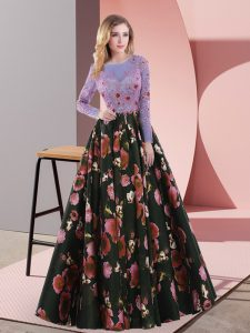 Stylish Multi-color Long Sleeves Printed Sweep Train Lace Up Homecoming Dress for Prom and Party and Military Ball