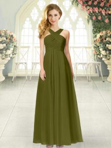 Perfect Floor Length Olive Green Dress for Prom Straps Sleeveless Zipper
