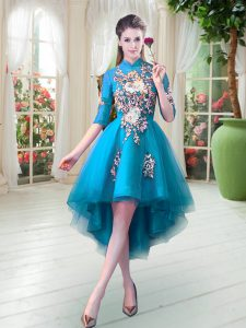 Nice Teal Tulle Zipper High-neck Half Sleeves High Low Prom Gown Appliques