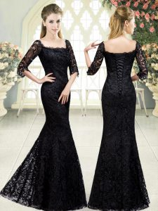 Sweet Black Lace Up Dress for Prom Beading and Lace Half Sleeves Sweep Train