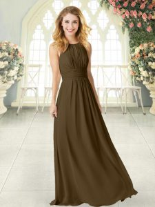 Elegant Brown Sleeveless Chiffon Zipper for Prom and Party