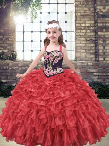 Floor Length Ball Gowns Sleeveless Red Girls Pageant Dresses Lace Up