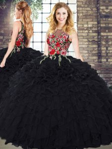 Extravagant Sleeveless Zipper Floor Length Embroidery and Ruffles Vestidos de Quinceanera