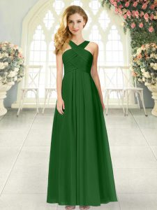 Chic Empire Prom Evening Gown Green Straps Chiffon Sleeveless Floor Length Zipper