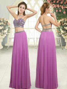 Floor Length Backless Dress for Prom Lilac for Prom and Party with Beading