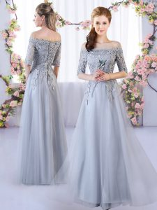 Grey Bridesmaid Dress Prom and Party with Appliques Off The Shoulder Half Sleeves Lace Up