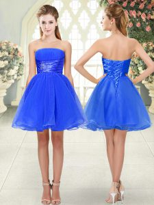 A-line Homecoming Dress Blue Strapless Organza Sleeveless Mini Length Lace Up