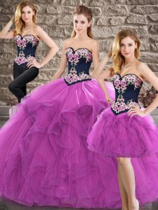 Fine Purple Three Pieces Sweetheart Sleeveless Tulle Floor Length Lace Up Beading and Embroidery Quinceanera Gowns
