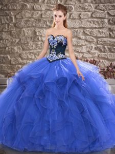 Blue Sleeveless Beading and Embroidery Floor Length Quince Ball Gowns