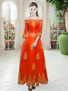 Glittering Orange Red Tulle Lace Up Off The Shoulder 3 4 Length Sleeve Floor Length Lace
