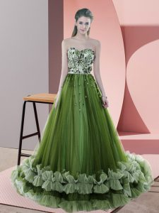 Green Tulle Lace Up Sweetheart Sleeveless Prom Dress Sweep Train Beading and Appliques