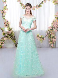 Decent Apple Green Cap Sleeves Tulle Lace Up Wedding Guest Dresses for Prom and Party and Wedding Party