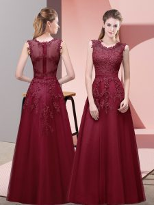 Scoop Sleeveless Prom Party Dress Floor Length Lace and Appliques and Belt Burgundy Tulle