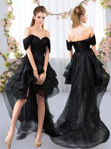 High Low Black Vestidos de Damas Tulle Short Sleeves Lace and Ruffled Layers