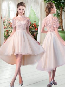 On Sale High-neck Short Sleeves Prom Party Dress High Low Lace Champagne Tulle