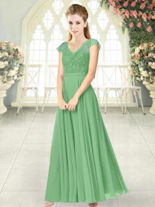 Sophisticated Green V-neck Zipper Lace Dress for Prom Cap Sleeves