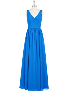 Custom Design Royal Blue Empire Chiffon V-neck Sleeveless Ruching Floor Length Zipper Prom Gown