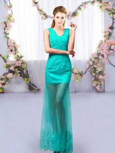 Amazing Tulle V-neck Sleeveless Lace Up Lace Quinceanera Court Dresses in Turquoise