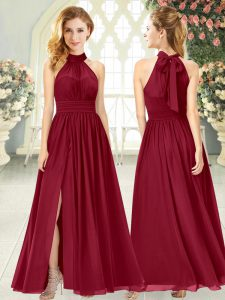 Wine Red Chiffon Zipper Prom Evening Gown Sleeveless Ankle Length Ruching