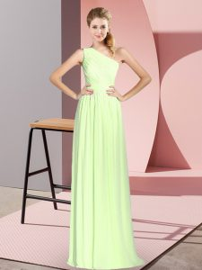 Yellow Green Chiffon Lace Up One Shoulder Sleeveless Floor Length Prom Dress Ruching