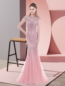 Scoop Cap Sleeves Sweep Train Zipper Prom Gown Pink Tulle