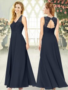 Spectacular Empire Dress for Prom Black V-neck Chiffon Sleeveless Ankle Length Zipper