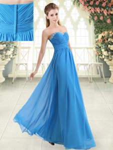 Sleeveless Floor Length Beading Zipper Evening Wear with Blue