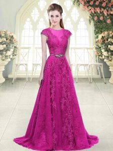 Shining Lace and Appliques Prom Gown Fuchsia Zipper Cap Sleeves Sweep Train