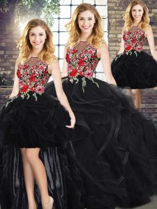 Scoop Sleeveless Quinceanera Gowns Embroidery and Ruffles Zipper