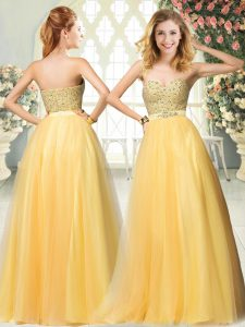 Attractive Sleeveless Zipper Floor Length Beading Prom Dress