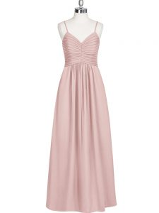Baby Pink Chiffon Zipper Homecoming Dress Sleeveless Floor Length Ruching