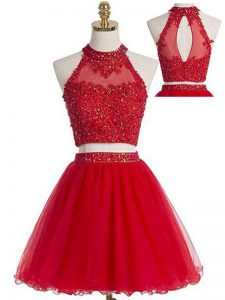 Glorious Mini Length Red Prom Evening Gown Halter Top Sleeveless Zipper