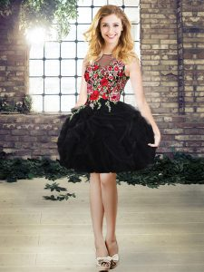 Charming Mini Length Black Prom Dresses Scoop Sleeveless Lace Up